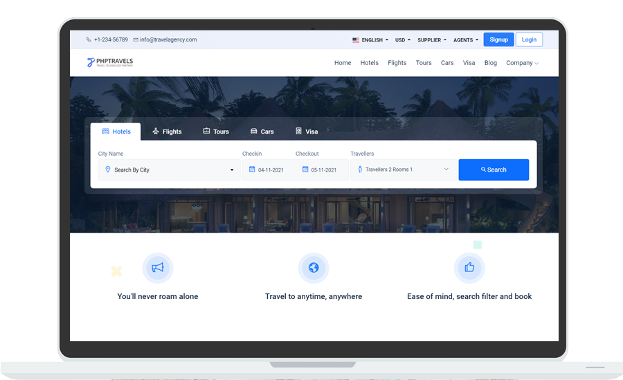 php travels web app