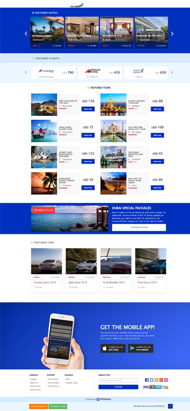 php travels booking script for hotels airline flights tours cars
